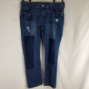 Old Navy Boyfriend Straight Distressed Patch Jeans